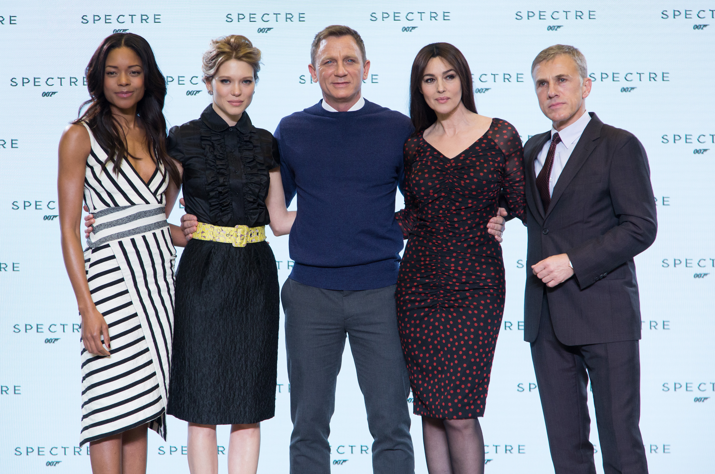 Spectre press conference - Craig, Bellucci, Seydoux, Waltz, Harris.jpg