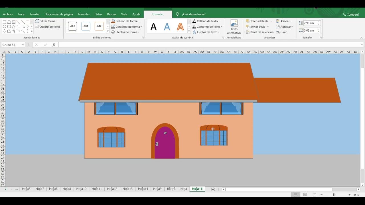 Cómo dibujar la casa de los Simpson | TUTORIALES DE DIBUJO EN EXCEL | Los Simpson
