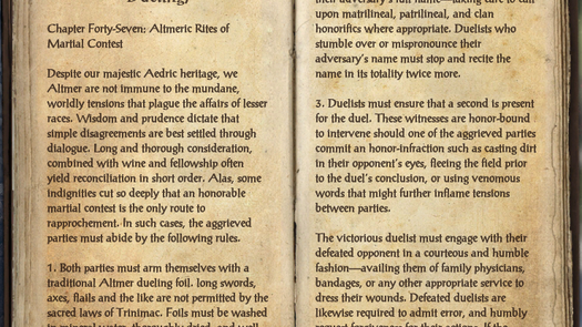 Guide to Altmeri Culture (On Dueling)