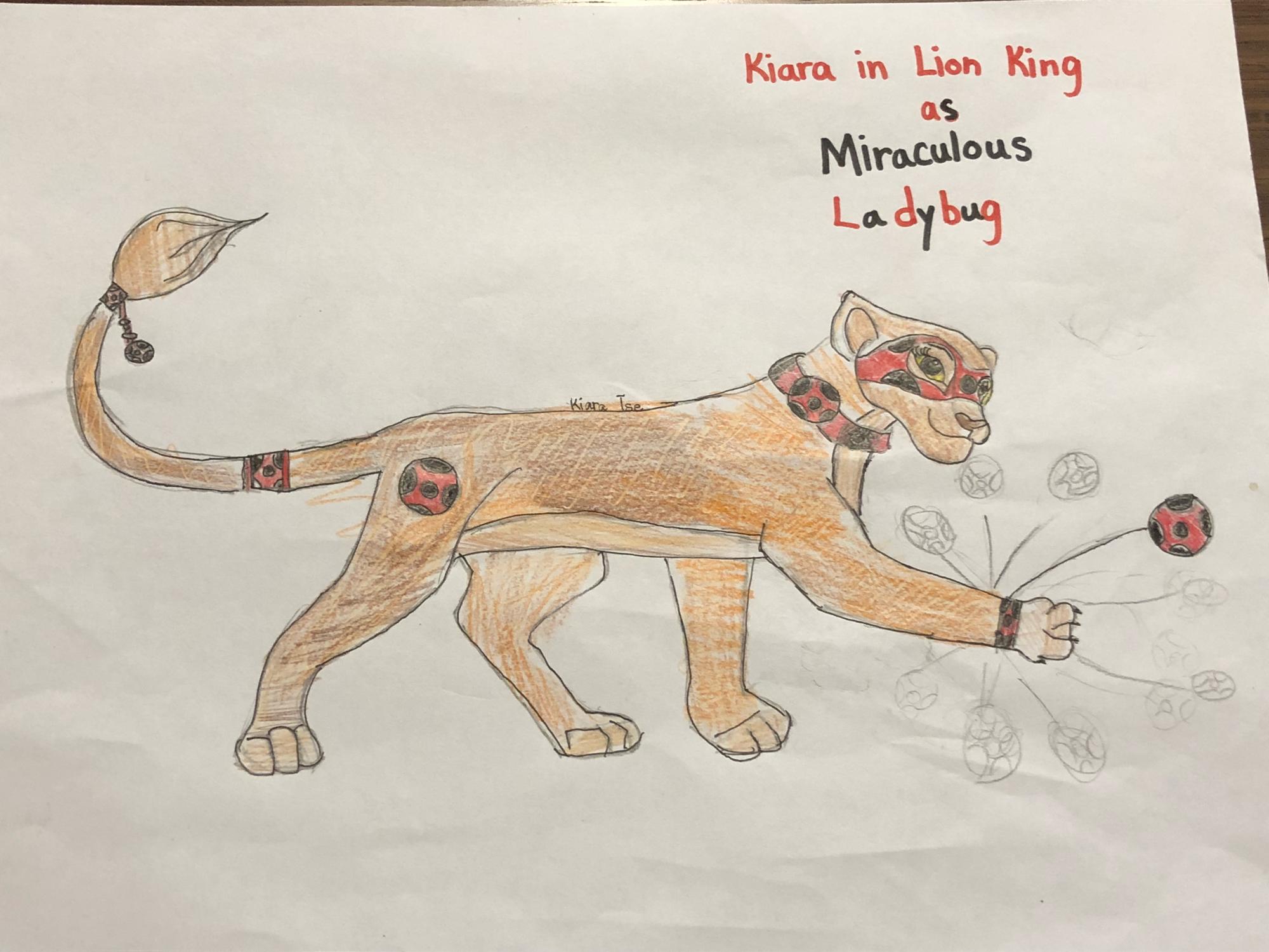 I drew Kiara in lion king as ladybug