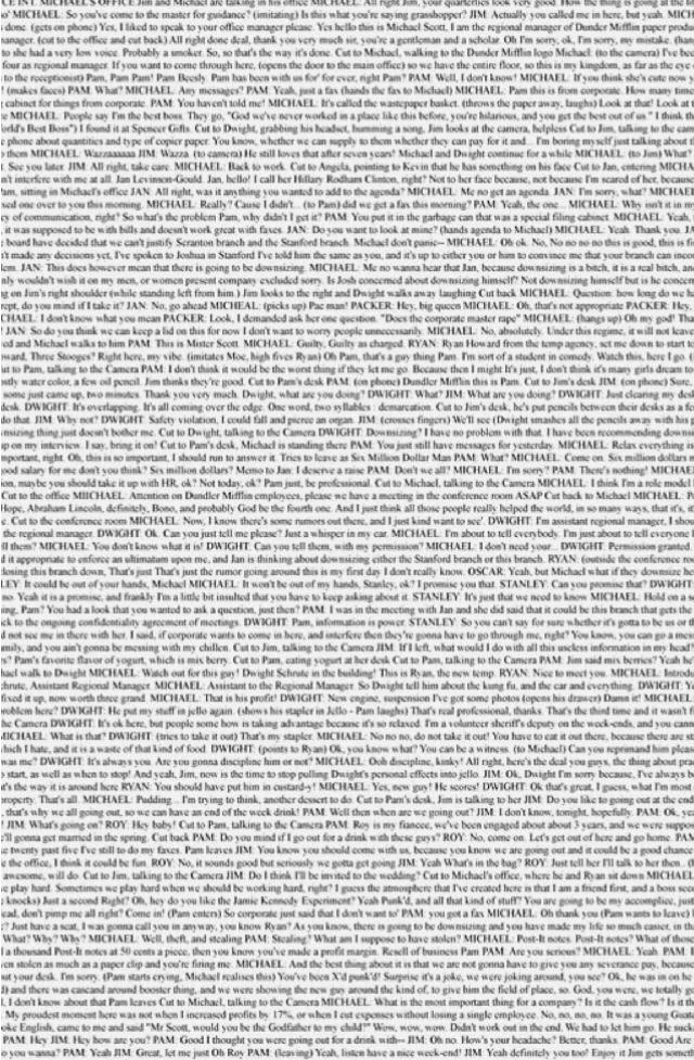 S1E1 'Pilot' Entire Script On A Page- It's my wallpaper. credit- Pinterest