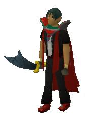 A player holding a Rune Scimitar