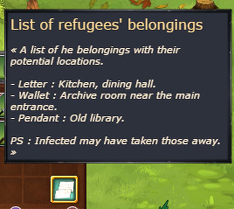 List of refugees' Belongings