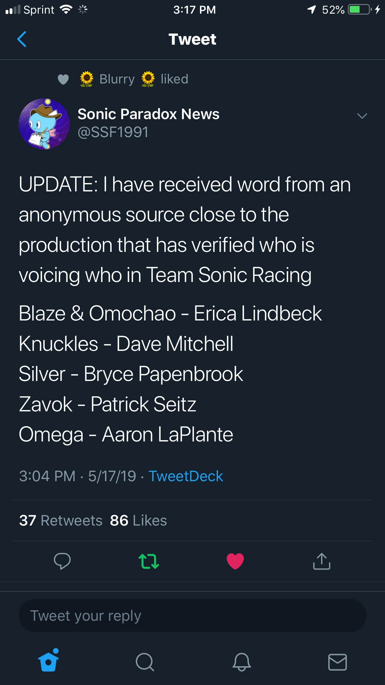 The new voices for Knuckles, Omega, Silver, Blaze/Omochao, and Zavok! State your opinions on this!