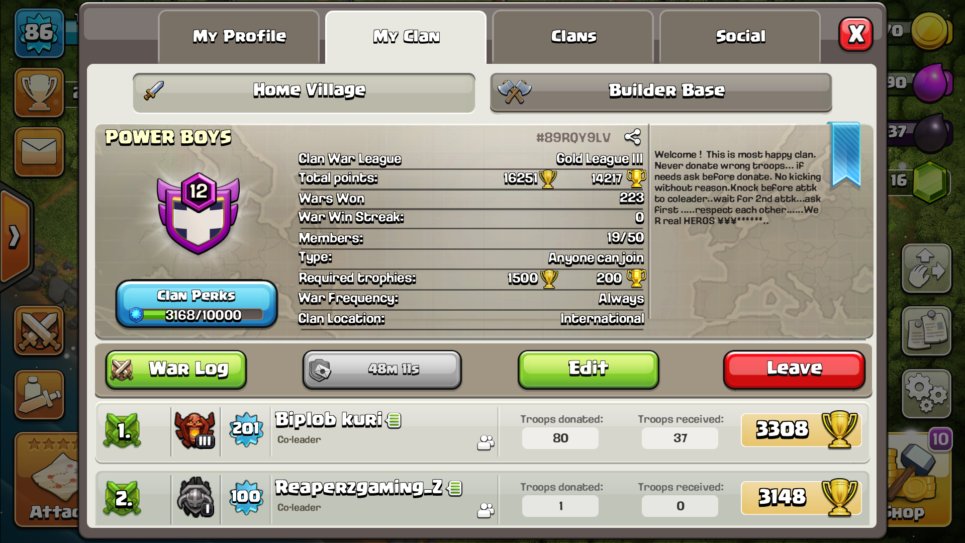 Join our clan. We are recreating our clan.So, we need active member.We promise to take u in clan war