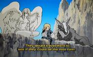 Enki watching the travelers