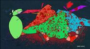 Three dead bodies of the talking red, blue, & green Dragons