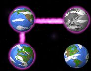 All four Outer Earths being connected via pink lasers
