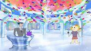 Confetti raining down in the office