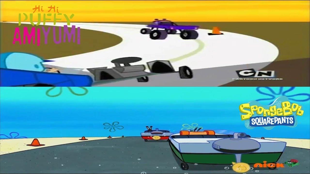 Hi Hi Puffy AmiYumi and Spongebob: Drivers and Boat Test Race