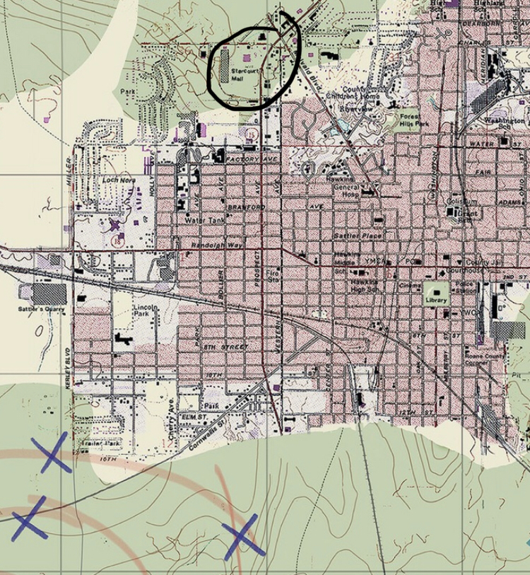 """The Starcourt mall is on hoppers map that he drew the """"rot circles"""" on for season 2"""