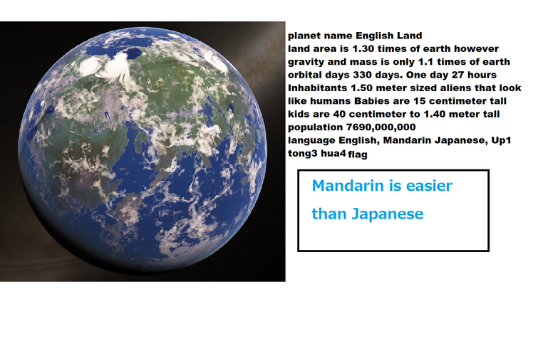 I edited with a planet just for fun. This is just showing that Mandarin is easier than Japanese