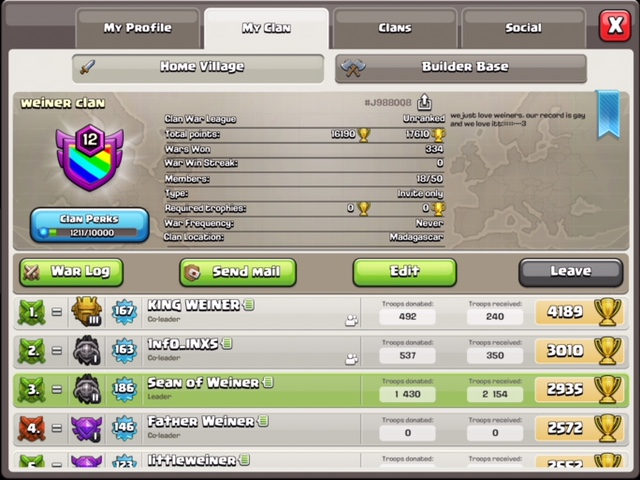 Recruiting for Clan Wars - Level 12 Clan- Weiner Clan - Looking for 4 new members
