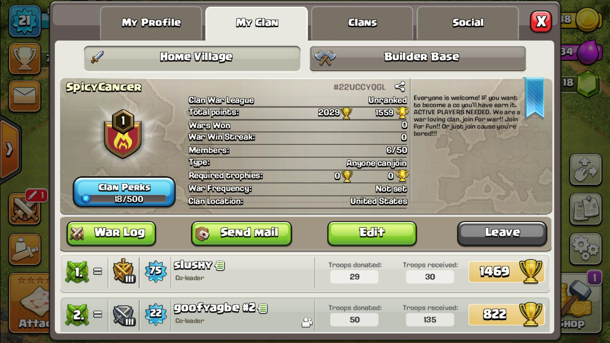 I need more members in my clan we have a few hours left in this war and our people arent active enough