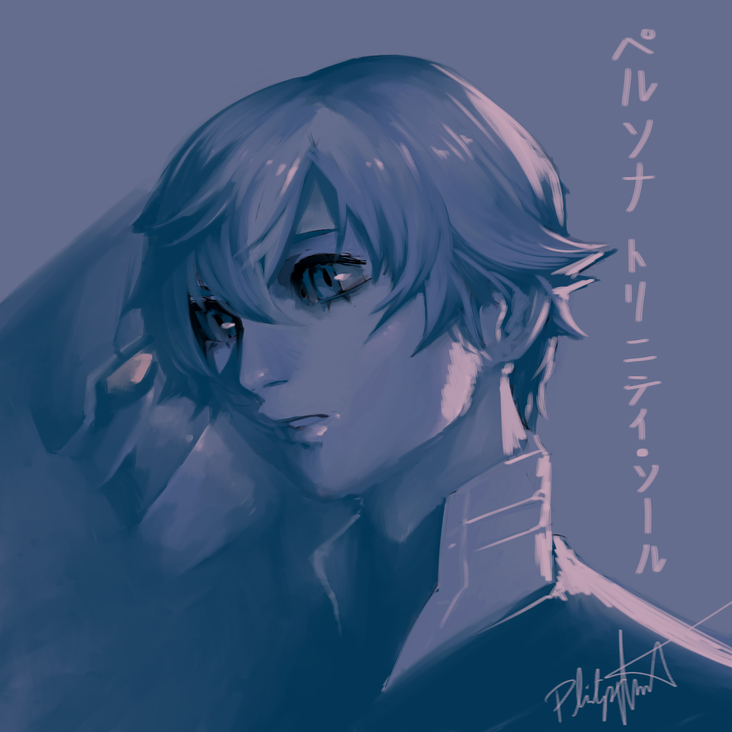 First time using single layer drawing + limited palette. Shin and his persona Abel