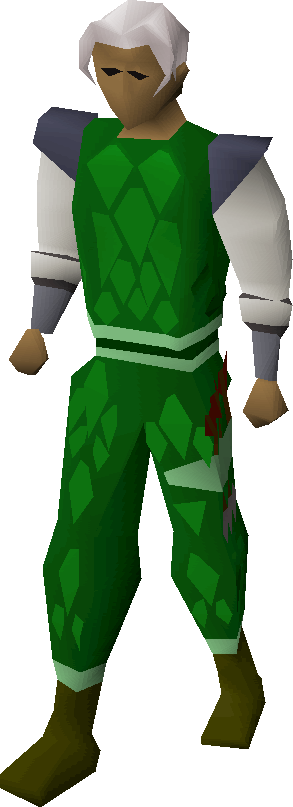 Green d'hide trimmed armour