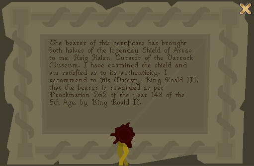 Shield of Arrav - Certificate.png