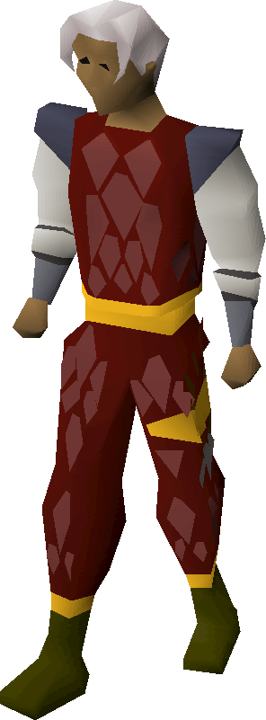 Red d'hide gold-trimmed armour