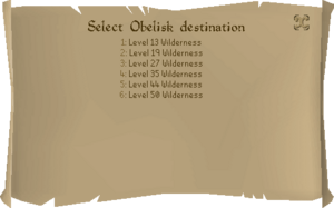 The interface showing all Wilderness obelisk teleports.