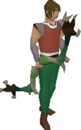 Dark bow (green) equipped