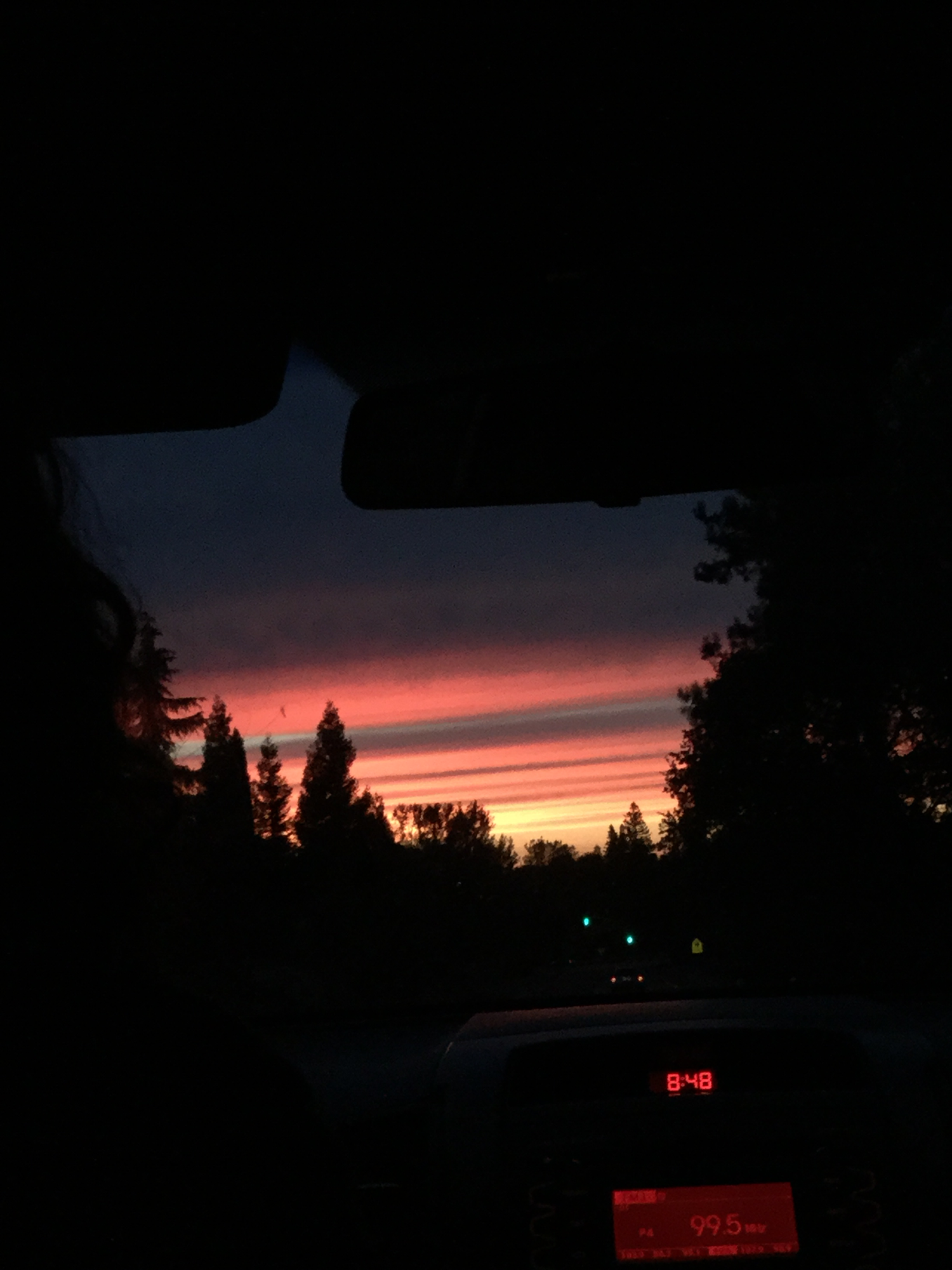 Sunset on Thursday, I couldn't get a really good photo because I was in the car
