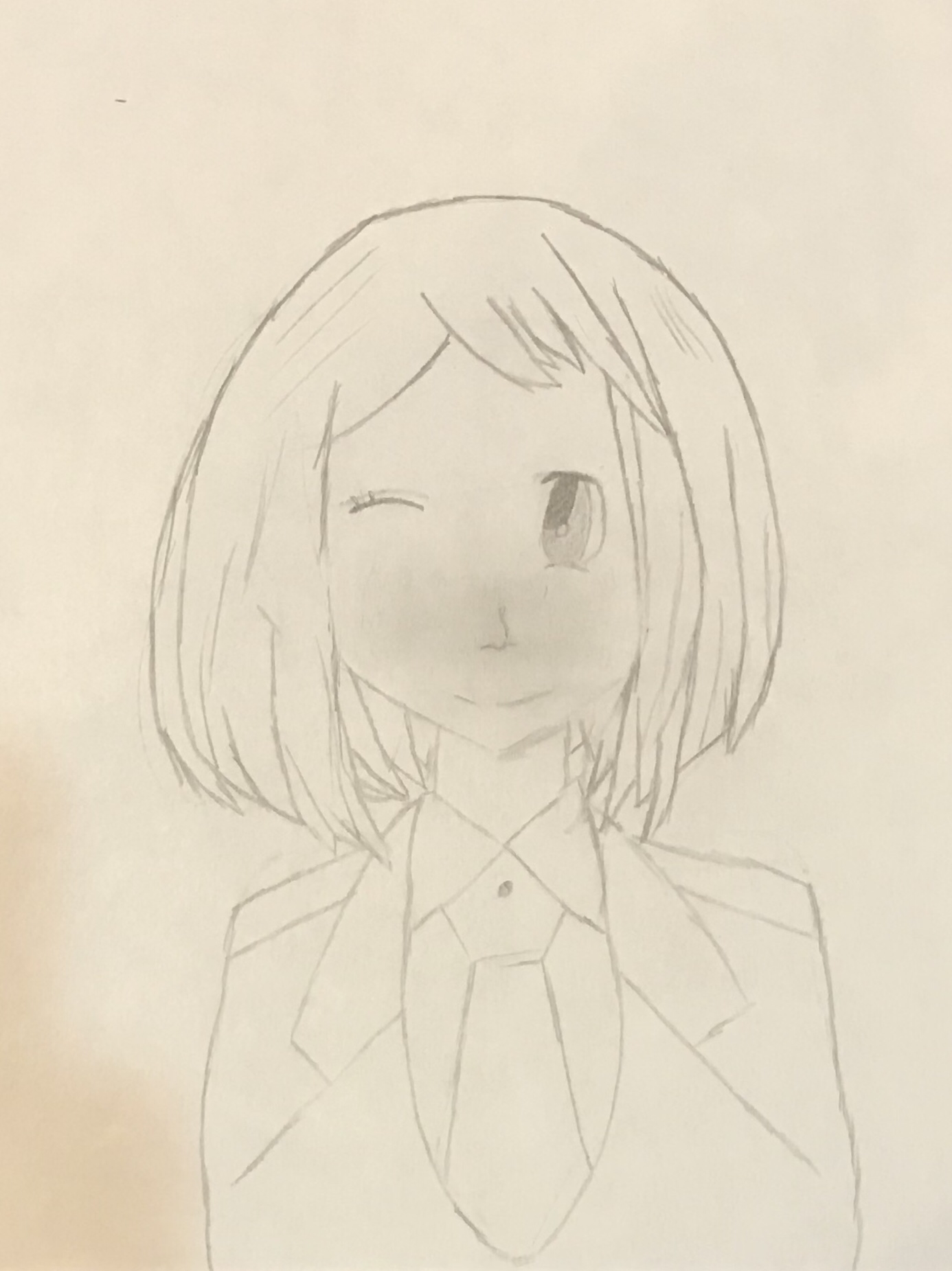 Uraraka Ochako Sorry For The Bad Drawing But I M Tired Comment If You Want Me To Color Her Fandom