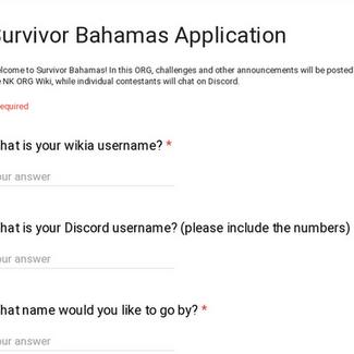 Survivor Bahamas Application