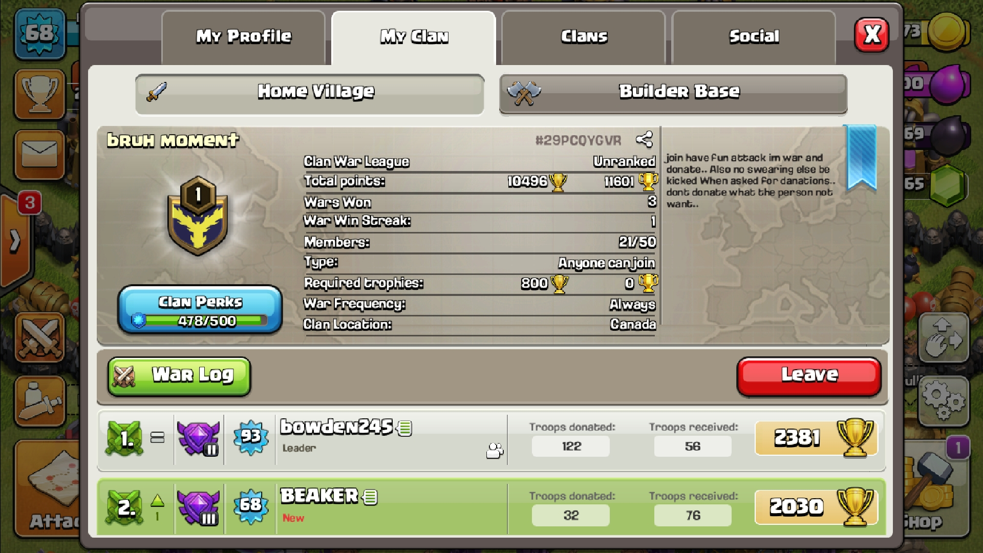 Join my clan bruh moment and help us become grate