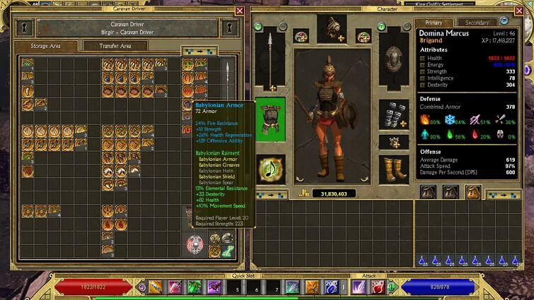 My Brigand wearing old gear - Babylonian Armor
