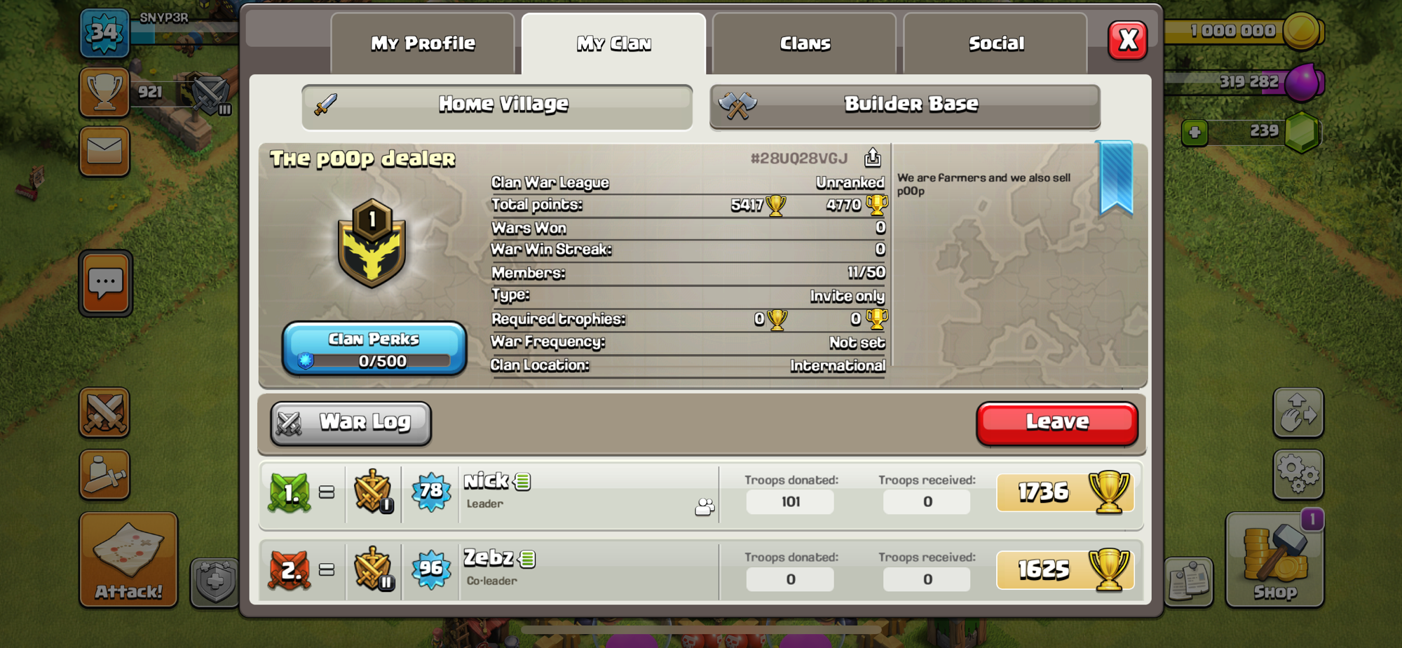 please join our clan (inactive and rushed bases get kicked by the leader) we need 4 players for war!