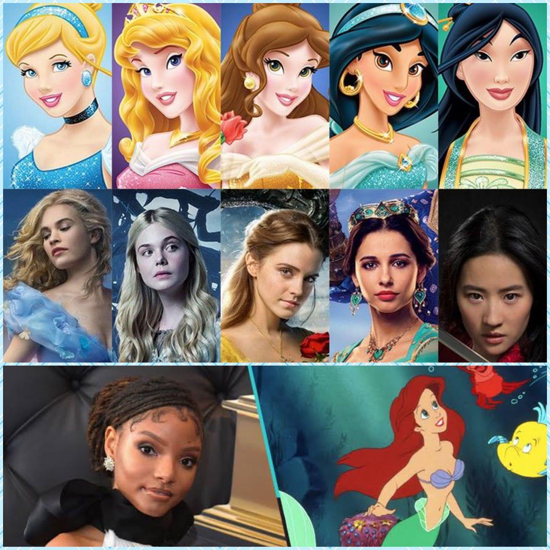 Disney princesses vs. live action. Do u like halle bailey as little mermaid?