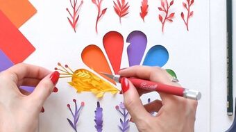 "Margaret Scrinkl on Instagram: ""Adorable @NBC bird ❤️ @nbcmakingit . . #paperart #nbc #timelapsevideo #makingit #papercraft #contentcreator #rainbowcolors #artworld…"""