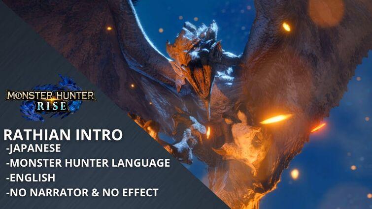 MH Rise Rathian Intro (Japanese - Monster Hunter Language - English - No Narrator & No Effect)