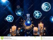 Μαγικές-φίλτρα-σε-ένα-μπλε-υπόβαθρο-113627564