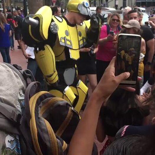 .@JohnCena walking around #SDCC right now cosplaying as Bumblebee 😁  (via @badtasteit)