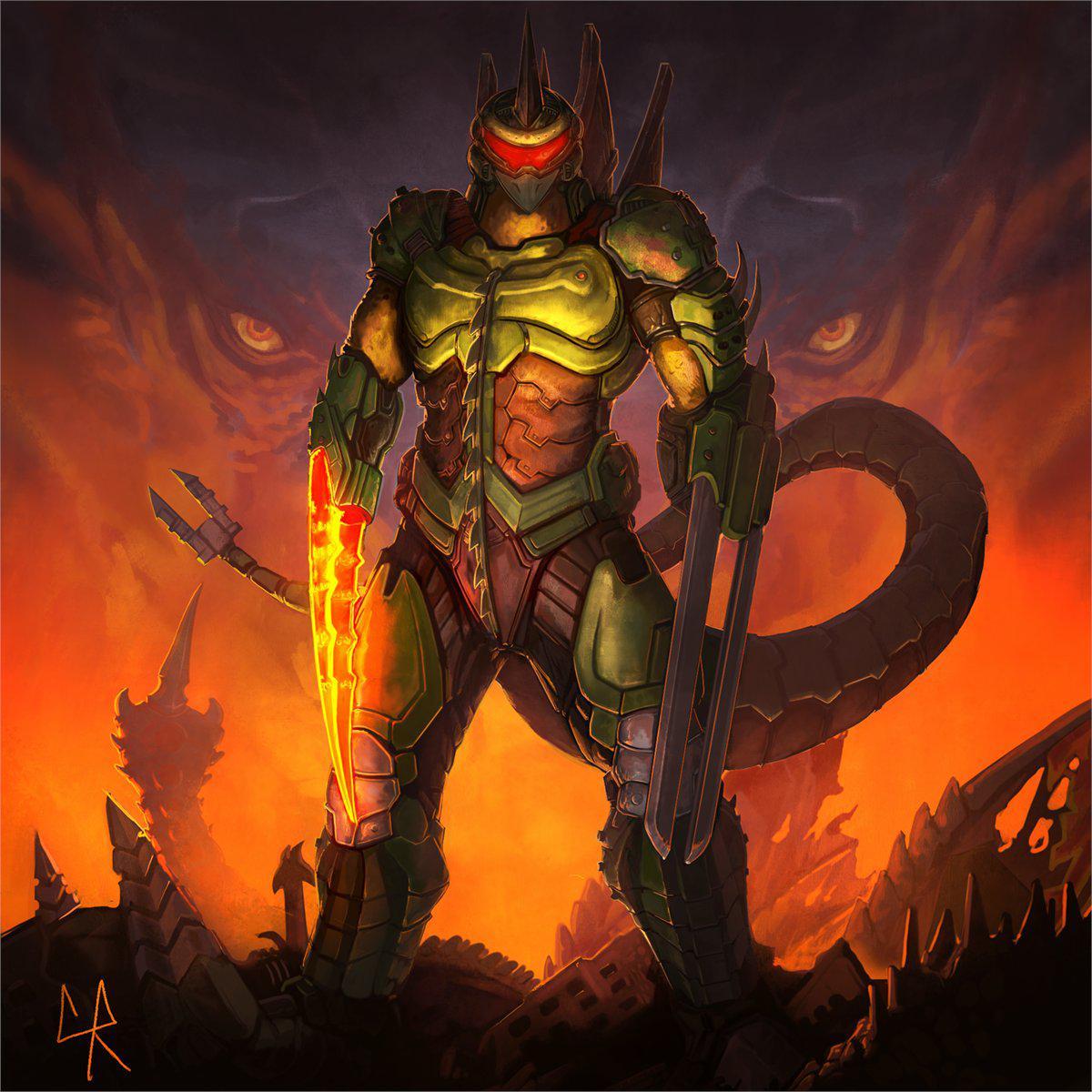 Doomslayer Plus Gigan From Godzilla Fandom
