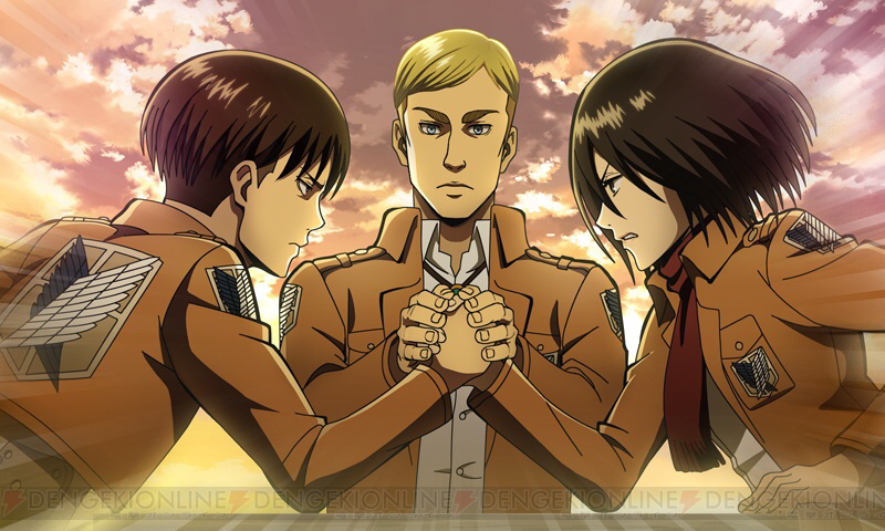 Captain Levi challenges Mikasa to an arm wrestling contest with Commander Erwin (RIP) as the referee