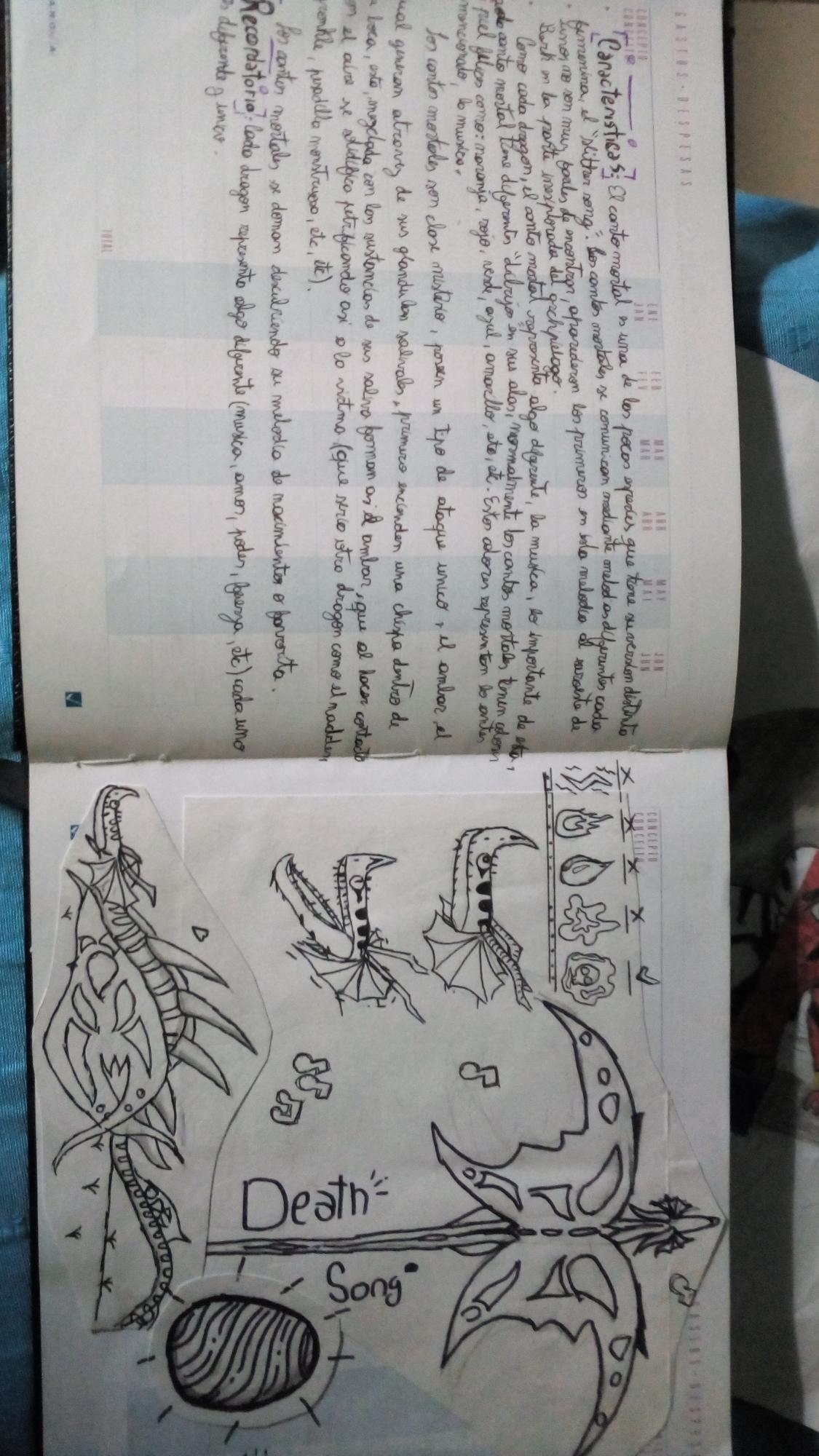 Miren esta foto antigua de un libro de dragones que hice hace mucho😂, díganme qué piensan.