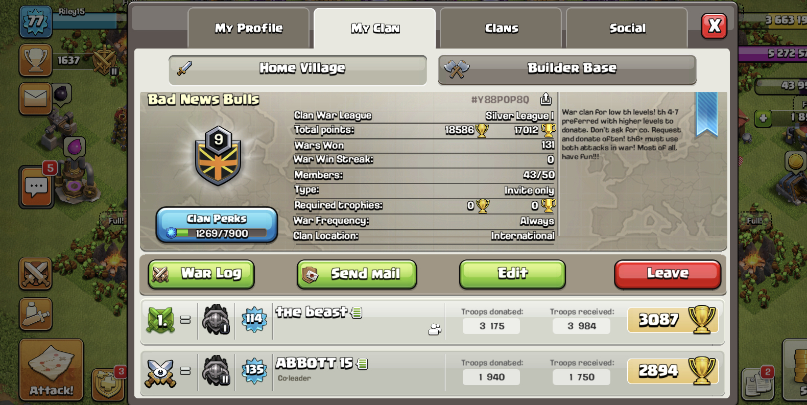 who wants to join our clan. active clan wars/games/leagues