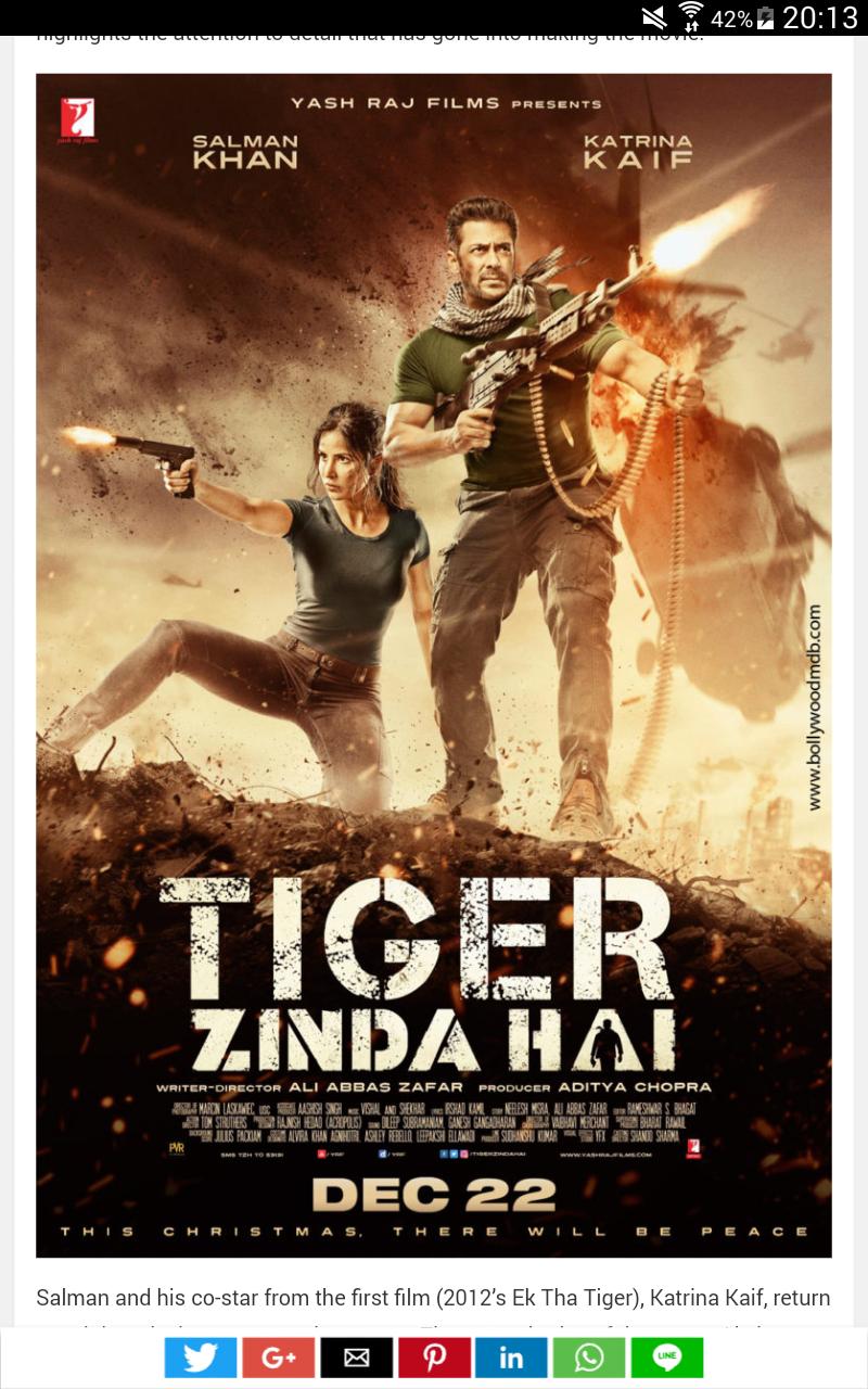I saw a bollywood movie called TIGER ZINDA HAI salman khan was in it
