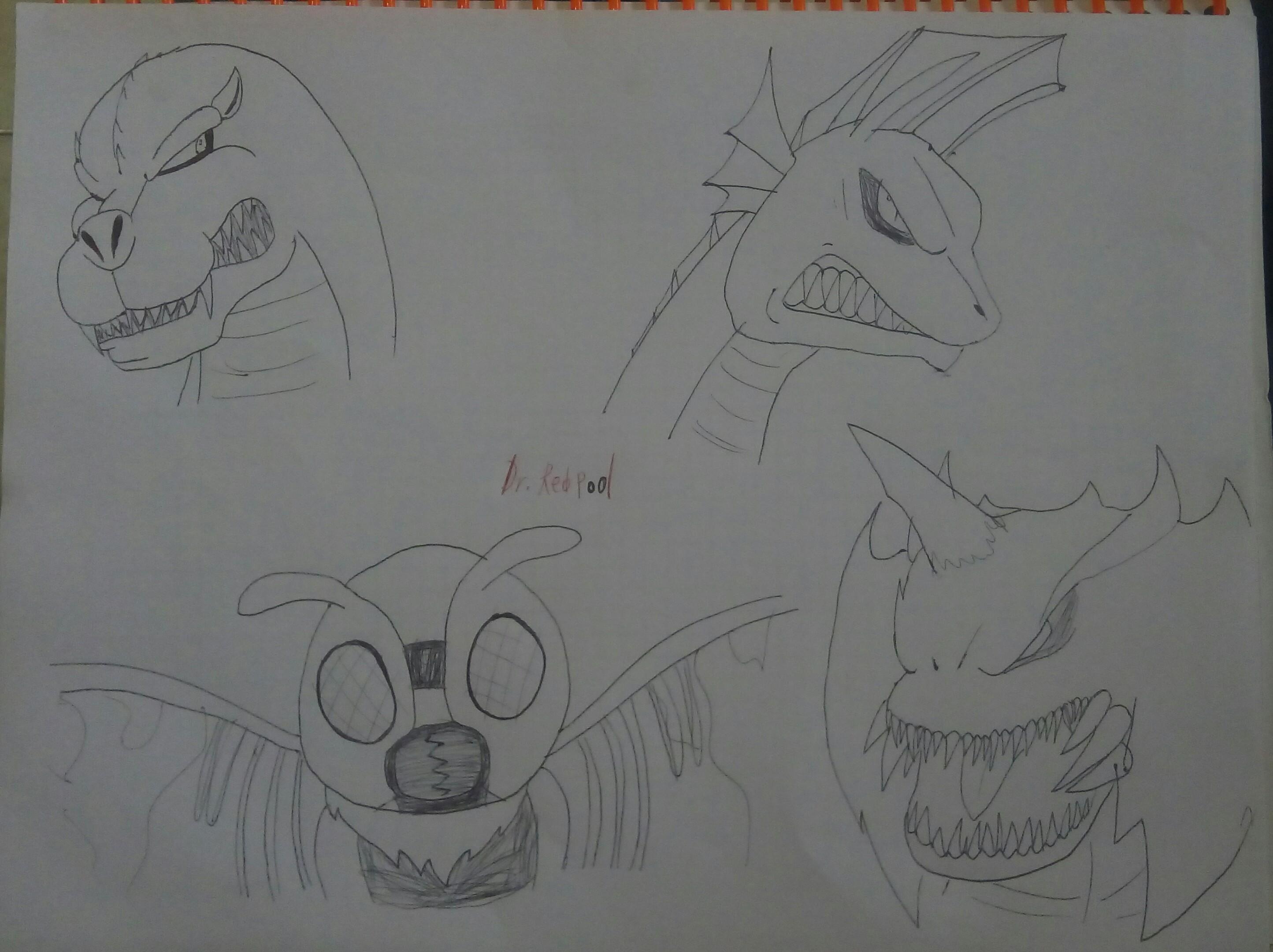 Un dibujo que hice de mis monstruos favoritos