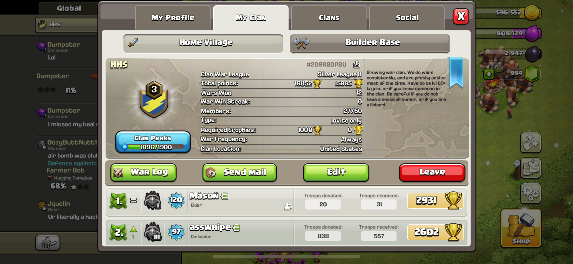 Please join need active members for war and clan games