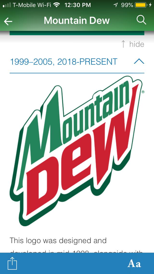 1999-2005 Mountain Dew logo being reused in 2018...?