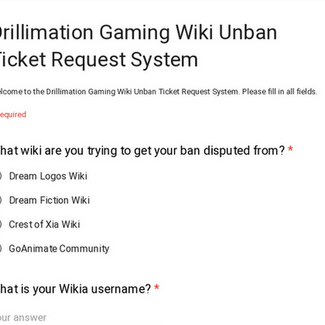 Drillimation Gaming Wiki Unban Ticket Request System