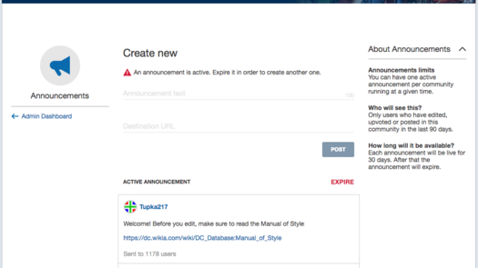 Introducing Announcements, a new way to notify your community