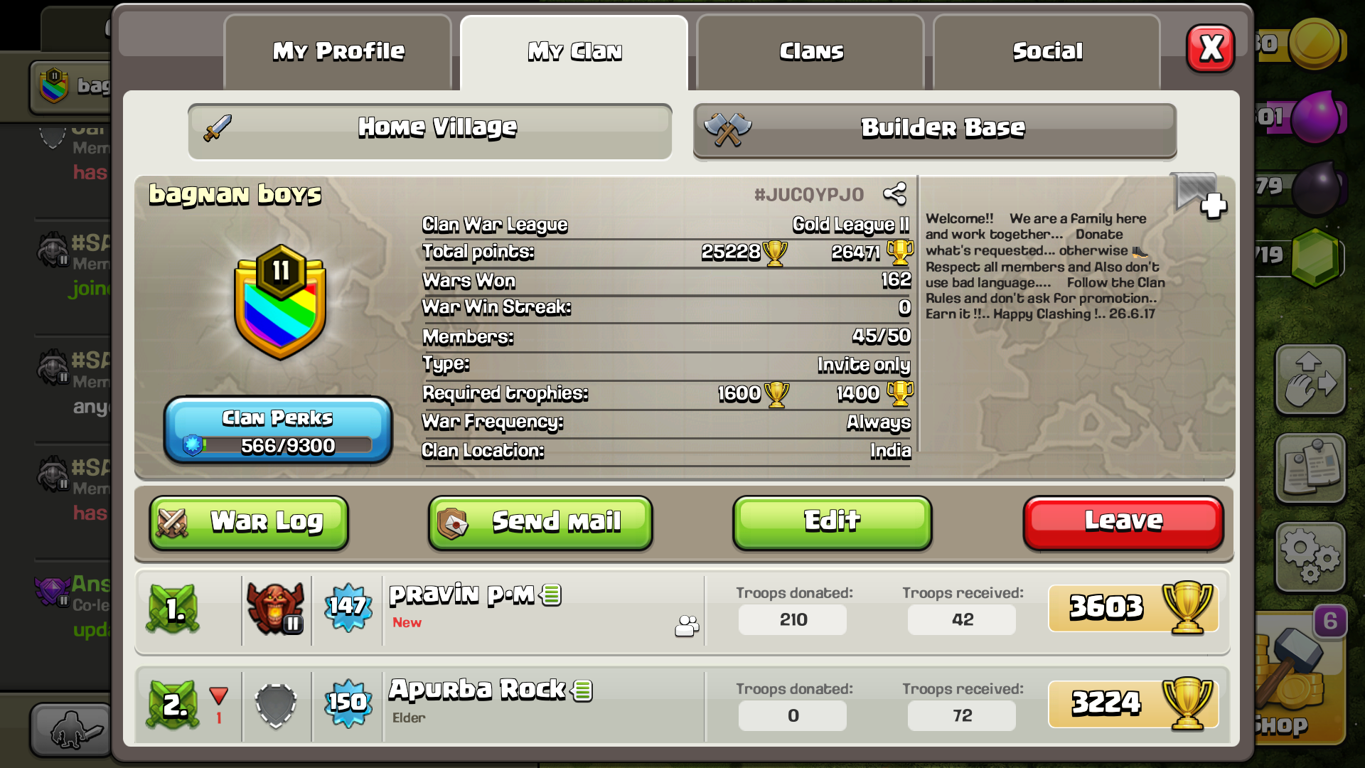 Looking for Town hall 10 + (non-rushed) for CWL... Clan Name : Bagnan Boys       #JUCQYPJ0