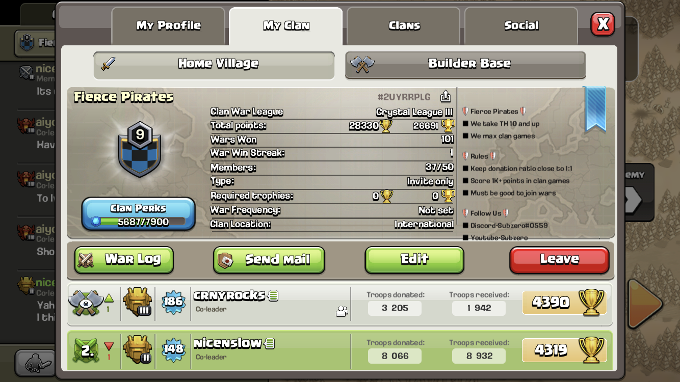 Fierce Pirates   We take the 10th and up  Daily clan wars. Fierce Pirates https://link.clashofclans.