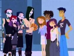 The gang minus Caitlin and Jude with the Goths.jpg