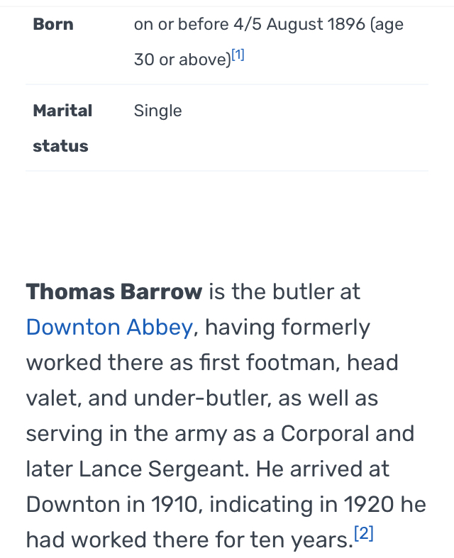 Working Age? How old is Thomas Barrow?