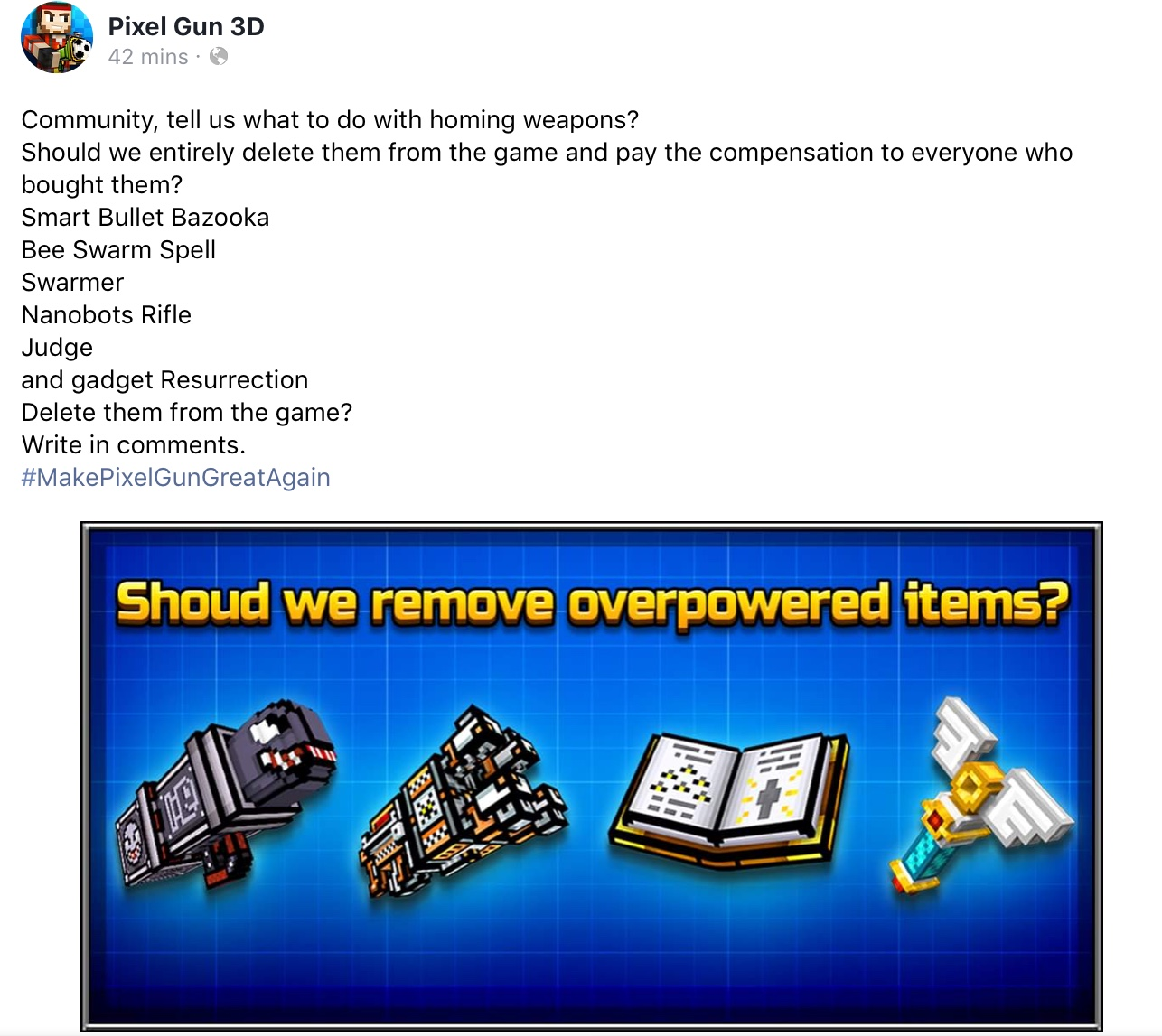 PG3D deleting OP weapons?
